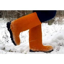 Felt boots orange polyurethane soles