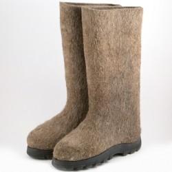 Войлочные ботинкиi серыйe   с полиуретановои подошвои