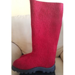 Felt boots red, 38 size